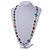 Long Multicoloured Glass and Shell Bead with Silver Tone Metal Wire Element Necklace - 110cm L - view 3