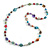 Long Multicoloured Glass and Shell Bead with Silver Tone Metal Wire Element Necklace - 110cm L - view 4