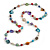 Long Multicoloured Glass and Shell Bead with Silver Tone Metal Wire Element Necklace - 110cm L