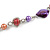 Long Multicoloured Glass and Shell Bead with Silver Tone Metal Wire Element Necklace - 110cm L - view 5