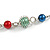 Long Multicoloured Glass and Shell Bead with Silver Tone Metal Wire Element Necklace - 110cm L - view 6
