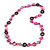 Fuchsia Shell, Brown Wood Ring and Pink Glass Beads Necklace - 80cm Long