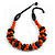 Orange/ Black Chunky Wood Bead Cotton Cord Necklace - 48cm Long
