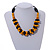 Yellow/ Black Chunky Wood Bead Cotton Cord Necklace - 48cm Long - view 2