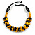Yellow/ Black Chunky Wood Bead Cotton Cord Necklace - 48cm Long - view 3