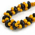 Yellow/ Black Chunky Wood Bead Cotton Cord Necklace - 48cm Long - view 4