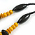 Yellow/ Black Chunky Wood Bead Cotton Cord Necklace - 48cm Long - view 5