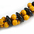 Yellow/ Black Chunky Wood Bead Cotton Cord Necklace - 48cm Long - view 6