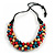 Chunky Natural/ Red/ Teal Wood Bead Black Cotton Cord Necklace - 68cm Length