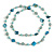 Long Glass and Shell Bead with Silver Tone Metal Wire Element Necklace In Light Blue - 120cm L