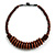 Brown Button, Round Wood Bead Wire Necklace - 46cm L