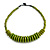 Lime Green Button, Round Wood Bead Wire Necklace - 46cm L