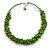 Lime Green Cluster Wood Bead Cotton Cord Necklace - 52cm L/ 4cm Ext