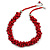Cherry Red Cluster Wood Bead Cotton Cord Necklace - 52cm L/ 4cm Ext
