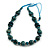 Teal Wood Bead Light Blue Cotton Cord Necklace - 80cm Max Length - Adjustable