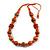 Orange/ Black Wood Bead Cotton Cord Necklace - 80cm Max Length - Adjustable