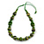 Lime Green Wood Bead Grass Green Cotton Cord Necklace - 80cm Max Length - Adjustable