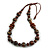 Brown/ Black Wood Bead Cotton Cord Necklace - 80cm Max Length - Adjustable