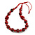 Red/ Black Wood Bead Cotton Cord Necklace - 80cm Max Length - Adjustable - view 7