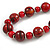 Red/ Black Wood Bead Cotton Cord Necklace - 80cm Max Length - Adjustable - view 3