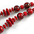 Red/ Black Wood Bead Cotton Cord Necklace - 80cm Max Length - Adjustable - view 4