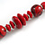 Red/ Black Wood Bead Cotton Cord Necklace - 80cm Max Length - Adjustable - view 5