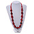Red/ Black Wood Bead Cotton Cord Necklace - 80cm Max Length - Adjustable - view 2