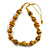 Yellow/ Black Wood Bead Cotton Cord Necklace - 80cm Max Length - Adjustable