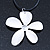 White Enamel 'Daisy' Pendant With Waxed Cotton Cord In Silver Tone - 38cm Length/ 7cm Extension - view 1