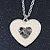 Milky White Enamel, Crystal 'Heart' Pendant With Silver Tone Chain - 40cm Length/ 7cm Extension - view 10