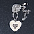 Milky White Enamel, Crystal 'Heart' Pendant With Silver Tone Chain - 40cm Length/ 7cm Extension - view 4