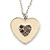 Milky White Enamel, Crystal 'Heart' Pendant With Silver Tone Chain - 40cm Length/ 7cm Extension