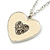Milky White Enamel, Crystal 'Heart' Pendant With Silver Tone Chain - 40cm Length/ 7cm Extension - view 2