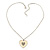 Milky White Enamel, Crystal 'Heart' Pendant With Silver Tone Chain - 40cm Length/ 7cm Extension - view 3