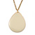 Cream Enamel Teardrop Pendant With Gold Tone Chain - 38cm Length/ 8cm Extension