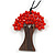 Red Glass Bead/ Brown Wood Tree Of Life Pendant with Black Cotton Cord - 76cm L