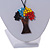 Multicoloured Glass Bead/ Brown Wood Tree Of Life Pendant with Black Cotton Cord - 76cm L - view 3