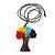Multicoloured Glass Bead/ Brown Wood Tree Of Life Pendant with Black Cotton Cord - 76cm L - view 4