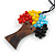 Multicoloured Glass Bead/ Brown Wood Tree Of Life Pendant with Black Cotton Cord - 76cm L - view 5