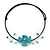 Turquoise Style Flower Flex Wire Choker Necklace - Adjustable