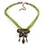 Olive Green/Light Green Diamante 'Butterfly With Tail' Cotton Cord Pendant Necklace In Bronze Metal - 38cm Length/ 8cm Extension