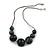 Dark Grey/ Black Resin Bead Faux Suede Cord Necklace - 46cm L/ 3cm Ext - view 5