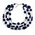 210g Solid 3 Strand Dark Blue Glass & Ceramic Bead Necklace In Silver Tone - 60cm L/ 5cm
