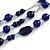 210g Solid 3 Strand Dark Blue Glass & Ceramic Bead Necklace In Silver Tone - 60cm L/ 5cm - view 3