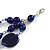 210g Solid 3 Strand Dark Blue Glass & Ceramic Bead Necklace In Silver Tone - 60cm L/ 5cm - view 4