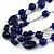 210g Solid 3 Strand Dark Blue Glass & Ceramic Bead Necklace In Silver Tone - 60cm L/ 5cm - view 5
