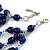 210g Solid 3 Strand Dark Blue Glass & Ceramic Bead Necklace In Silver Tone - 60cm L/ 5cm - view 6
