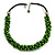 Lime Green Cluster Wood Bead Black Cotton Cord Necklace - 52cm L/ 4cm Ext