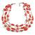 210g Solid 3 Strand Bubblegum Pink Glass & Ceramic Bead Necklace In Silver Tone - 60cm L/ 5cm