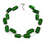 Two Strand Square Green Glass Bead Silver Tone Wire Necklace - 48cm L/ 5cm Ext